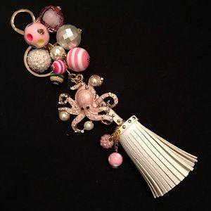 NEW Pink & Pearl Octopus w/White Tassel Keychain!